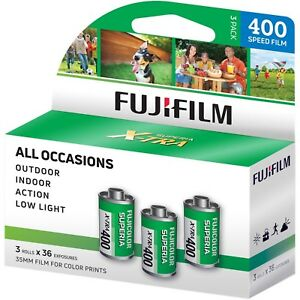 3 Pack Fuji Superia X-TRA CH ISO 400 36 Exp. 35mm Color Film, 108 Exposures