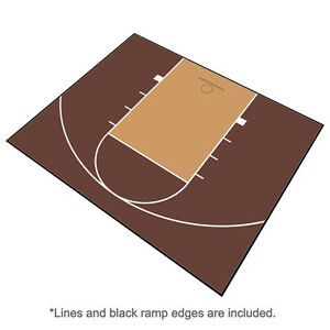 Outdoor Basketball Half Court Kit 30' X 25'-Lines and Edges Included-BrownBeige