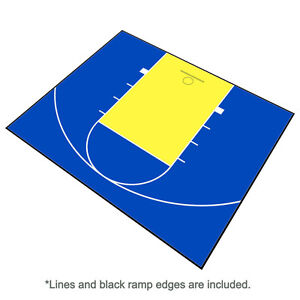 Outdoor Basketball Half Court Kit 30' X 25'-Lines and Edges Included-BlueYellow