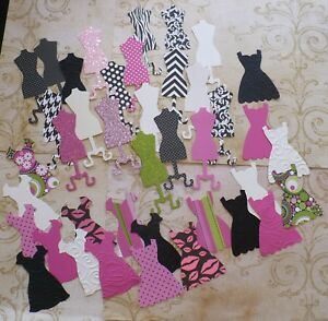 Stampin Up Die cut dress form shapes Black Pink Green White Cardstock colors