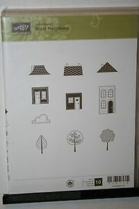 e STAMPIN UP RETIRED STAMP SET GOOD NEIGHBORS 10 PC LOTS OF STAINING