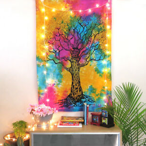 Indian Wall Tapestry Poster Hanging Tree of Life Decor Cotton Hippie Ethnic Art