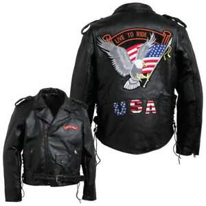 Men's Black Leather Motorcycle Biker Jacket Coat with Live to Ride USA Patches