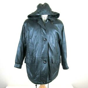 Bally Women size 6 Leather Jacket Coat Green Snap Button Hoodie