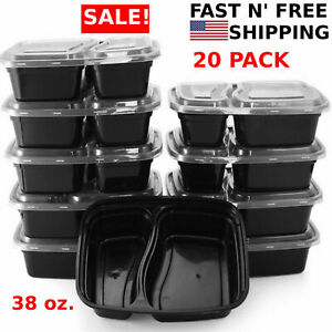 20 Meal Prep Containers 2 Compartment Food Storage Plastic Reusable Microwavable $16.99