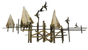 Mid Century Modern Curtis Jere Metal Wall Sculpture Pier Scene Signed 1970s