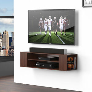 Wood Floating Wall Mount Shelves TV Stand Media Console with 2 Tier Shelf