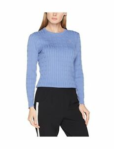 Gant Women's Stretch Cotton Cable Crew Long Sleeve Jumper Blue (Nightfall Blue)