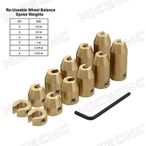 Wheel Weights 12 Pack Motorcycle Reusable Brass Spoke Balance Refill Kits For