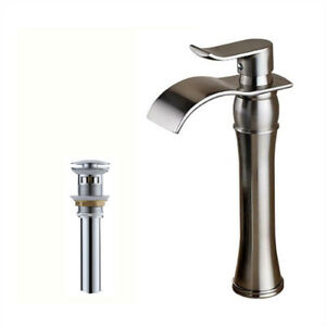 Brushed Nickel Waterfall Lavatory Sink Faucet 1 Handle Tall Body WPop Up Drain