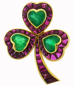 HEMMERLE Ruby Emerald Gold Clover Pin BROOCH Clip 1980s