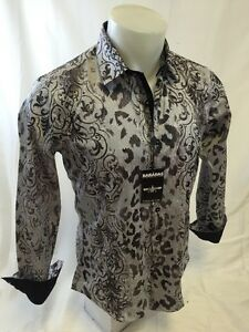 Mens BARABAS Designer Shirt Woven GRAY PAISLEY FANCY Print Button Up SLIM FIT 86