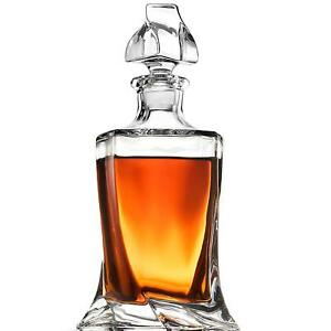Crystal Whiskey Liquor Decanter - High-End Modern Wine Decanter Weighted Bottom
