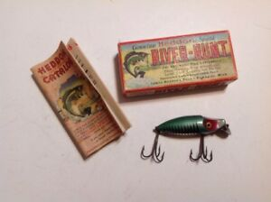 Vintage Heddon 9110 XRG Green Shore River Runt  Spook Lure  With Box Lot R-10