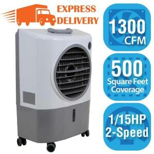 Portable Rolling Evaporative Cooler Fan 500 sq ft. 2 Speed Swamp Cooler Air Flow