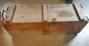 Vtg. Wooden Military Ammunition Ammo Box Crate For Cannon with Rope Handles