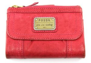 FOSSIL Women's Pink Multifunction Saddle Leather Wallet SL2932