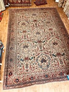 Antique Hand Woven All Over Design Rug  Size 10'x15' Circa 1920s Garden Design