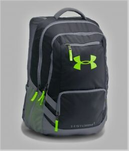 Under Armour HUSTLE II STORM BACKPACK 1263964 NWT GRAY & NEON GREEN 18 X13 X 8