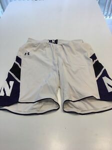 Game Worn Used Northwestern Wildcats Basketball Shorts Under Armour Size XL