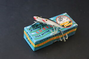 RARE Black White Vintage Staley Twin Minn Indiana Old Wood Lure With 121 Box!