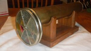 Vintage Brass Kaleidoscope with Double Wheels and Oak Stand