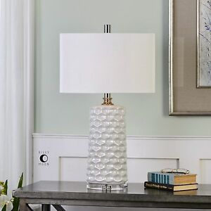 MODERN URBAN WHITE CERAMIC TABLE LAMP DESIGNER INSPIRED