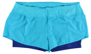 Nike Womens Rival Perforated Two in One Running Shorts Sky Blue XL