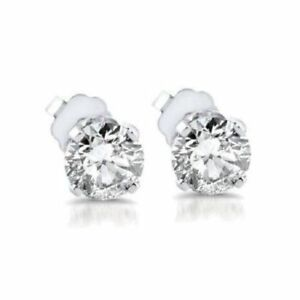 Round 2.00 Ct White Diamond Beautiful Earrings in real Solid 14K White Gold