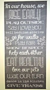 In Our House Plaque Sign Wall Art White Letters On Black Vinyl 23x11 Eat Healthy