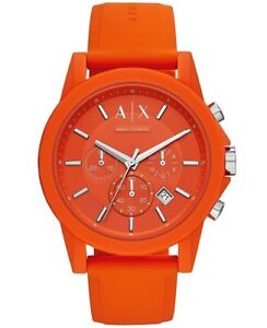 BRAND NEW in box Armani Exchange Men's Chronograph Orange Silicone Strap #AX1336