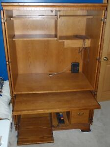 Computer Hutch Student Desk Solid Oak with Doors Shelves Drawers
