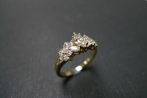 2.00 Ct Marquise Cut Diamond 14K Yellow Gold Over Cluster Engagement Ring