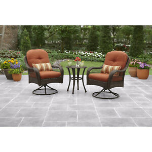 3-PCS Outdoor Bistro Set Porch Patio Furniture Wicker Table Chairs All Weather