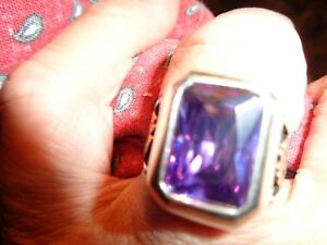 Turkish Handmade Jewelry 925 Sterling Silver Amethyst Stone Men's Ring Sz 9-WOW
