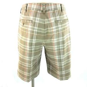 Nike Golf Fit Dry Beige Plaid Stretch Flat Front AthleticGolf Shorts Mens 34