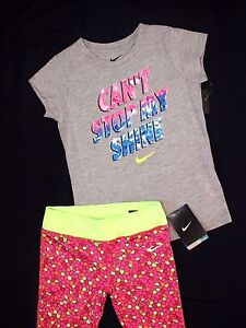 NWT ~~GIRL'S NIKE COTTON T-SHIRT & DRI-FIT LEGGINGS..SIZE 6-X NEW wt TAGS!~~