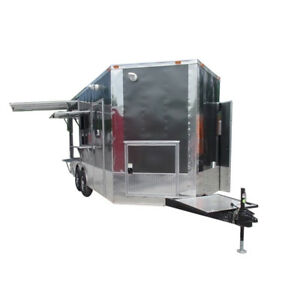 Concession Trailer 8.5 X 18 Charcoal grey pizza event catering
