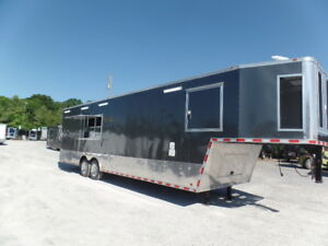 Gooseneck 8.5x36 Med Charcoal Concession Event Catering Trailer