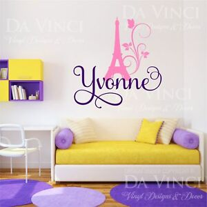 Paris Eiffel Tower Love Girl Custom Name Wall Personalized Vinyl Sticker Decal L