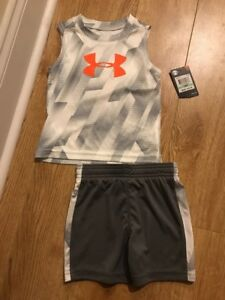 NWT UNDER ARMOUR 2PC  Baby Boys 18 Months Grey Org Tank Top & Shorts