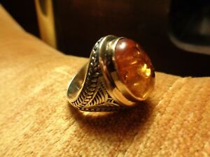 Turkish Handmade Jewelry 925 Sterling Silver Amber Stone Men's Ring Sz 10-stunni