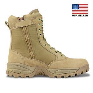 FINAL SALE Men's 8'' Desert Tan Military Tactical Work Boots with Zipper