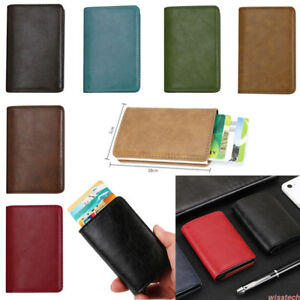 Men's Women's PU Leather Small Id Credit Bank Card Wallet Holder Pocket Lot WI1