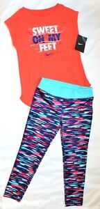 NWT ~~GIRL'S NIKE DRI-FIT LEGGINGS & COTTON T-SHIRT...SIZE 6-X...CAP SLEEVES~~