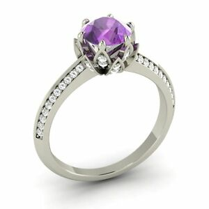 Certified 1.38 Cts Amethyst & SI Diamond 14k White Gold Flower Engagement Ring