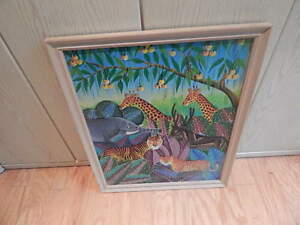 SIGNED DANIEL LOUIS HAITIAN PAINTING 21 IN X 18 12 INCH FRAME INTERNATINAL SALE