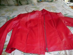 LEATHER JACKET- ALFANI -RED- SZ LARGE LADIES EXCELLENT CONDITION NO DEFECTS