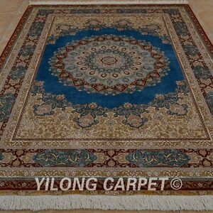 YILONG 5.5'x8' Blue Handknotted Silk Persian Carpet Classy Durable Area Rug 0240
