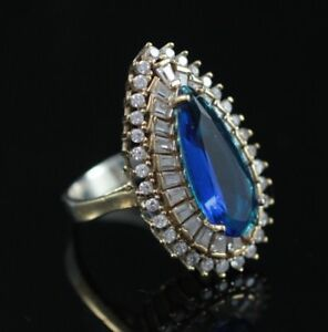 BEAUTIFUL! TURKISH HANDMADE SAPPHIRE STERLING SILVER 925K RING & EARRING SET
